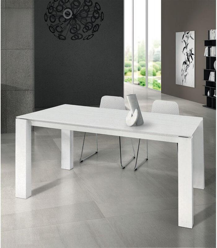 Tavolo moderno allungabile bianco frassinato - Spazio Casa