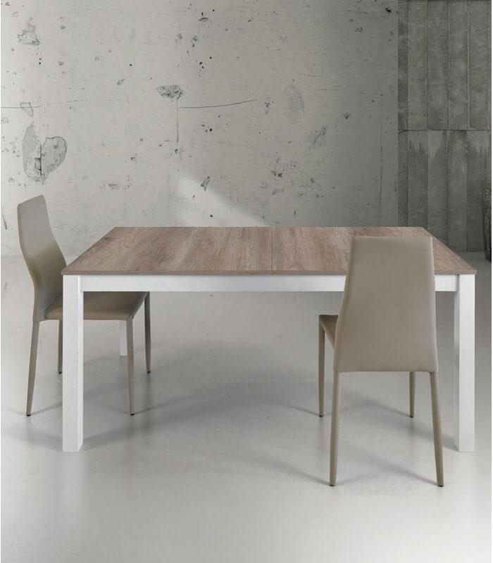 Tavolo allungabile in legno e metallo bianco spazio casa - Tavolo bianco e legno ...