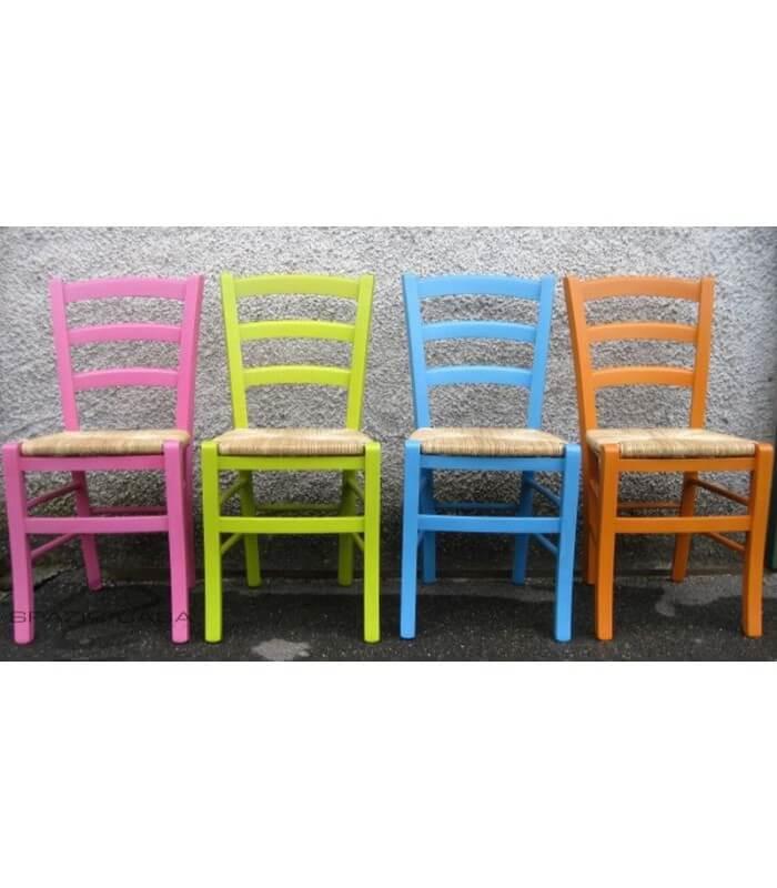 Sedie Rustiche In Legno.Set Sedie Venezia Colorate In Legno Massello Rosa Azzurro Verde