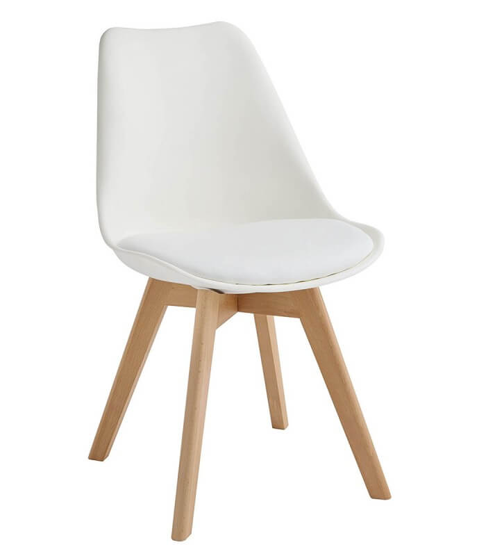 Sedia in propilene bianca e gambe in legno naturale for Sedie design nordico