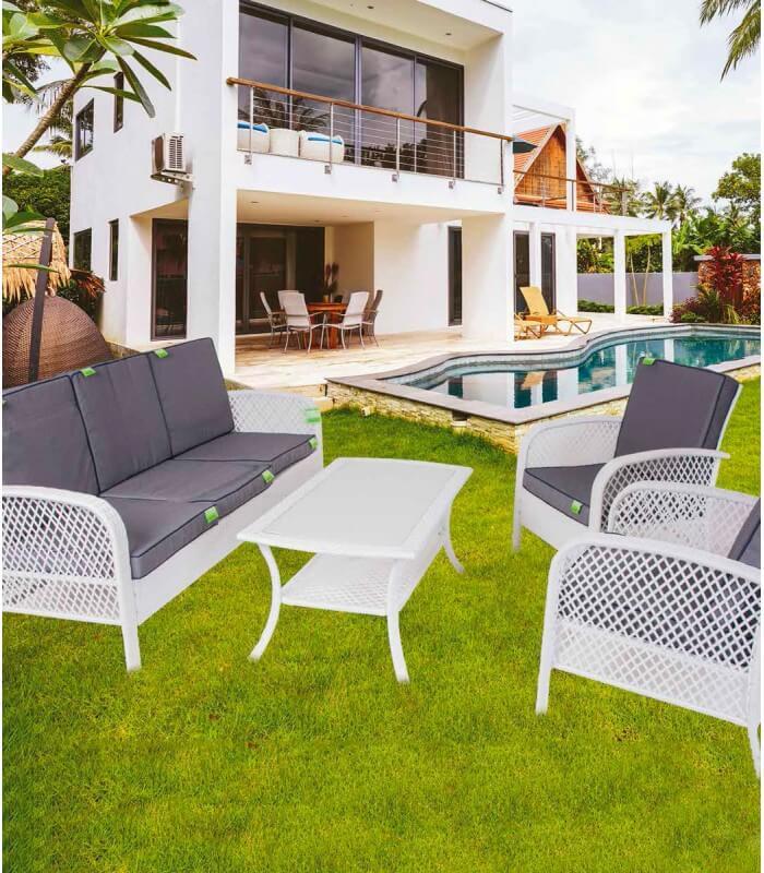 Set sof per arredo esterno coveri 5 posti spazio casa - Salottini per esterno ...