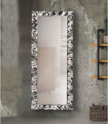 Specchiera moderna 170x70 con cornice argento in vetro