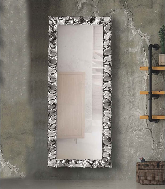 Specchio modero 170x70 con cornice argento in vetro - Spazio Casa