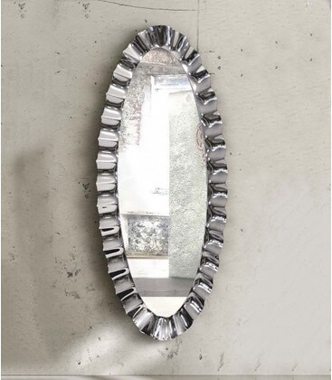 Specchio ovale 190x90 con cornice in vetro argento nebulizzato