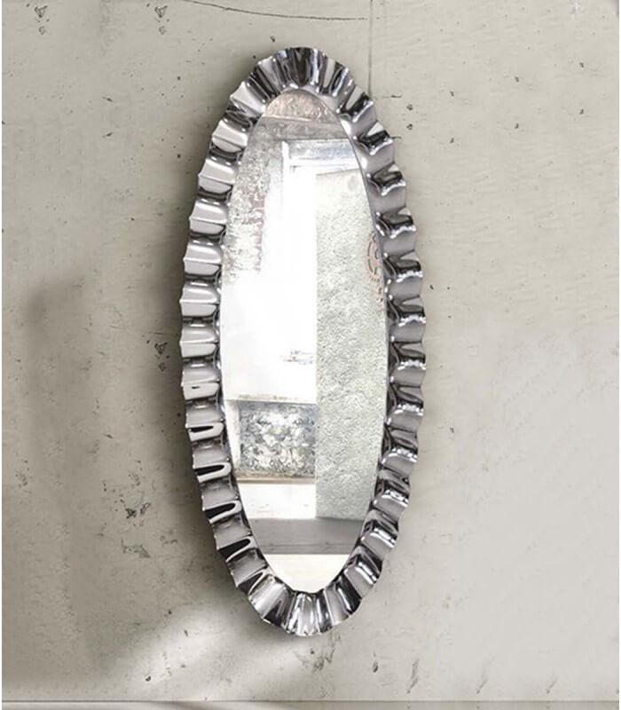 Specchio ovale 190x90 con cornice in vetro argento for Specchio cornice argento