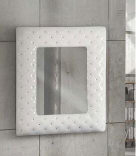 Specchiera 100x92 con cornice bianca e swarovski