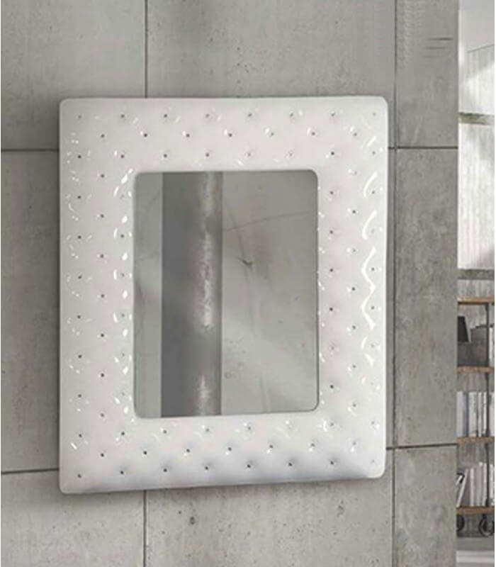Specchiera 100x92 con cornice bianca e swarovski - Spazio Casa