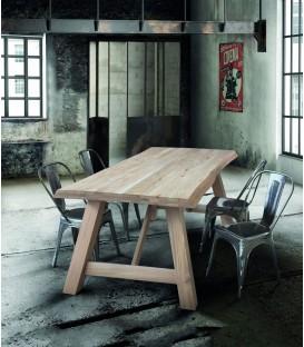 Tavolo fisso in legno massello naturale