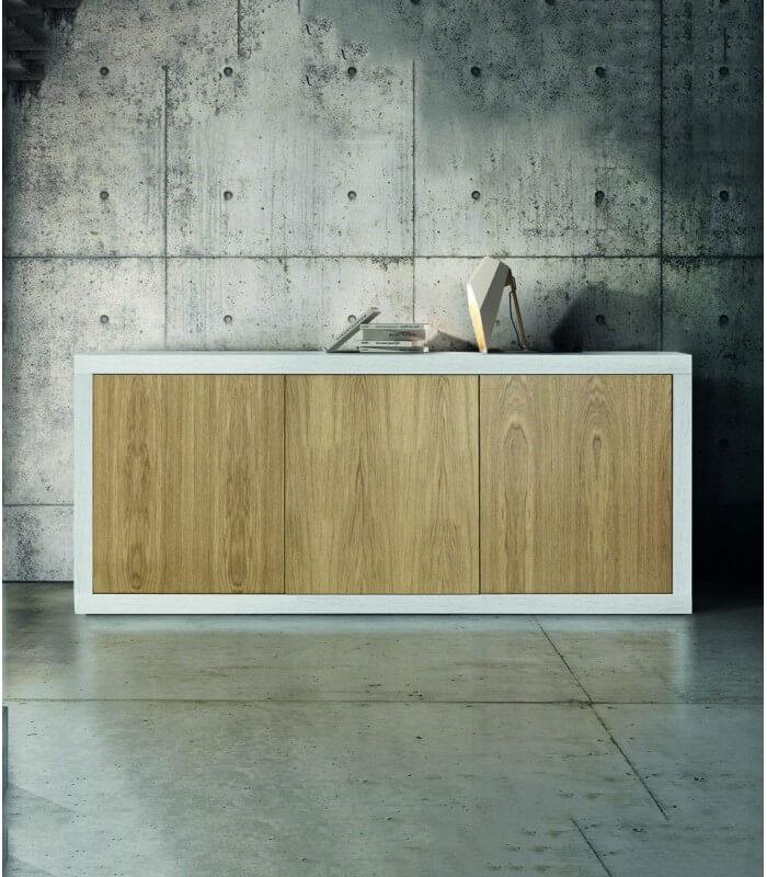 Madia Credenza 3 ante in legno bianco e rovere - Spazio Casa