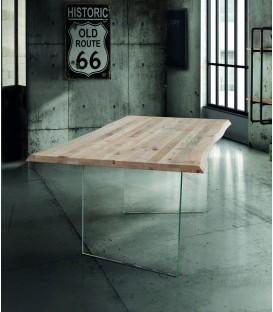Tavolo moderno in Legno Massello con gambe in vetro