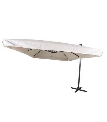 Ombrellone parasole ruotante 3x3m palo laterale a sbalzo base a croce