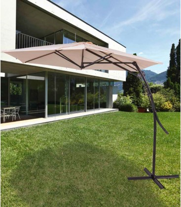 Ombrellone parasole Coveri Garden Coffee ø 2,7 m palo laterale base a croce