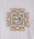 Orologio quadrato in ferro battuto e ceramica 2C