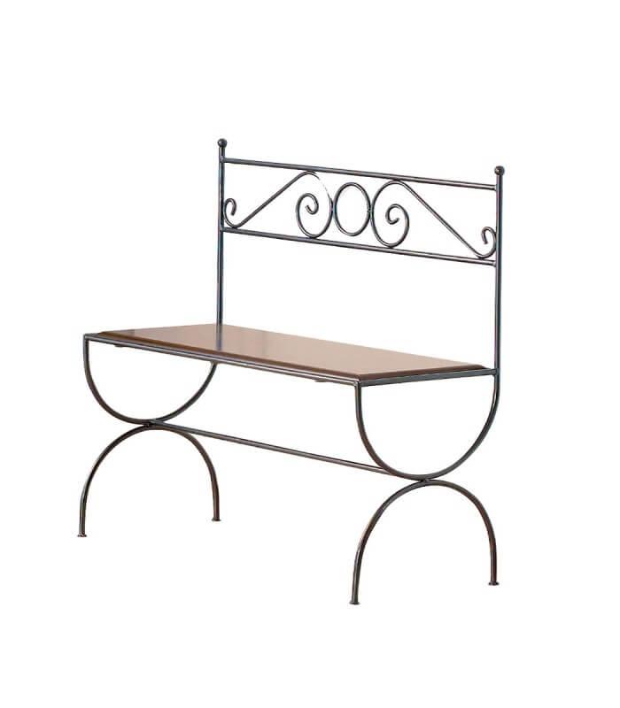 Panca stile liberty in ferro battuto con seduta in legno for Complementi d arredo ferro battuto