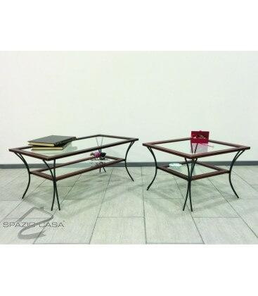 Tavolino da salotto in legno con piedi in ferro e ripiani in vetro