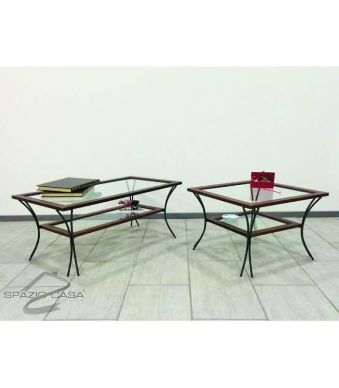 Tavolino da salotto in legno con piedi in ferro battuto e - Tavolo ferro battuto e vetro ...