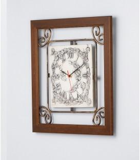 Orologio Quadrato con Quadrante in Ceramica e Cornice in Legno