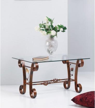 Tavolino rettangolare in ferro con foglie
