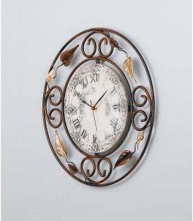 Orologio tondo in ferro battuto decorato con foglie quadrante in ceramica