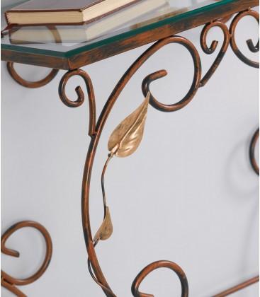 Consolle rettangolare in ferro con foglie - Oro ducato