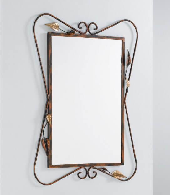 Ferro Anticato Specchio da Parete 4C con Cornice in Ferro battuto Orientamento Verticale Gancio sul Lato Corto