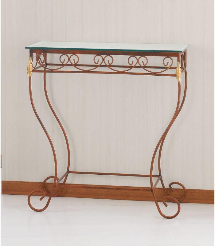 Consolle in ferro battuto con piano in vetro - Tavolo ferro battuto e vetro ...