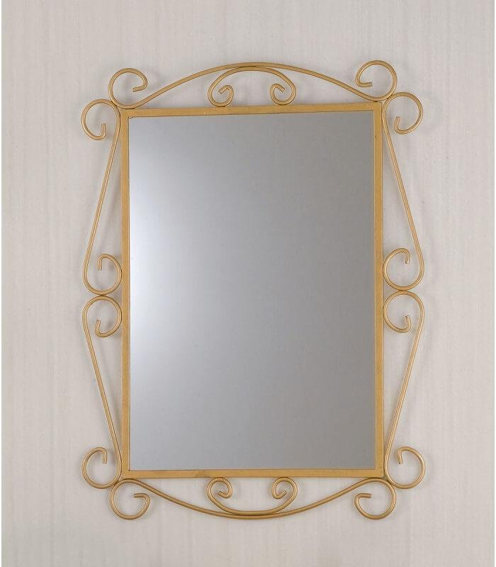 Specchio Da Parete Con Cornice In Ferro Battuto