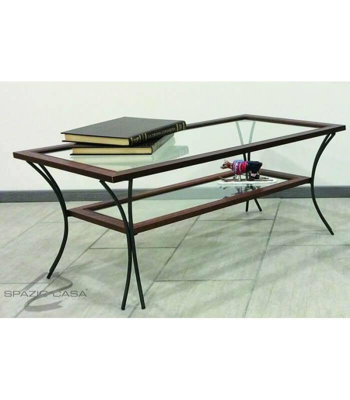 Tavolino da salotto in legno con piedi in ferro e ripiani for Tavolini in legno e vetro