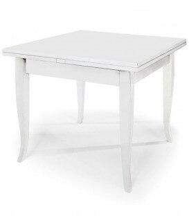 Tavolo quadrato allungabile con piede a sciabola