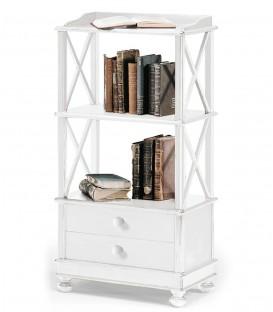 Libreria bassa stile Shabby Chic laccato bianco opaco