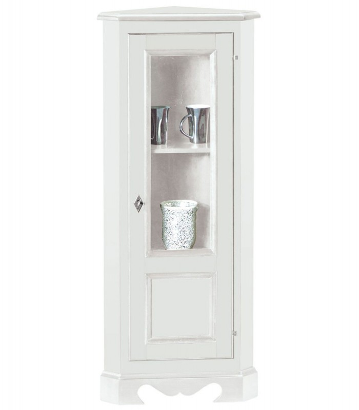 Mobile Ad Angolo Con Vetrina.Vetrinetta Ad Angolo 1 Anta In Legno Laccato Bianco Spazio Casa
