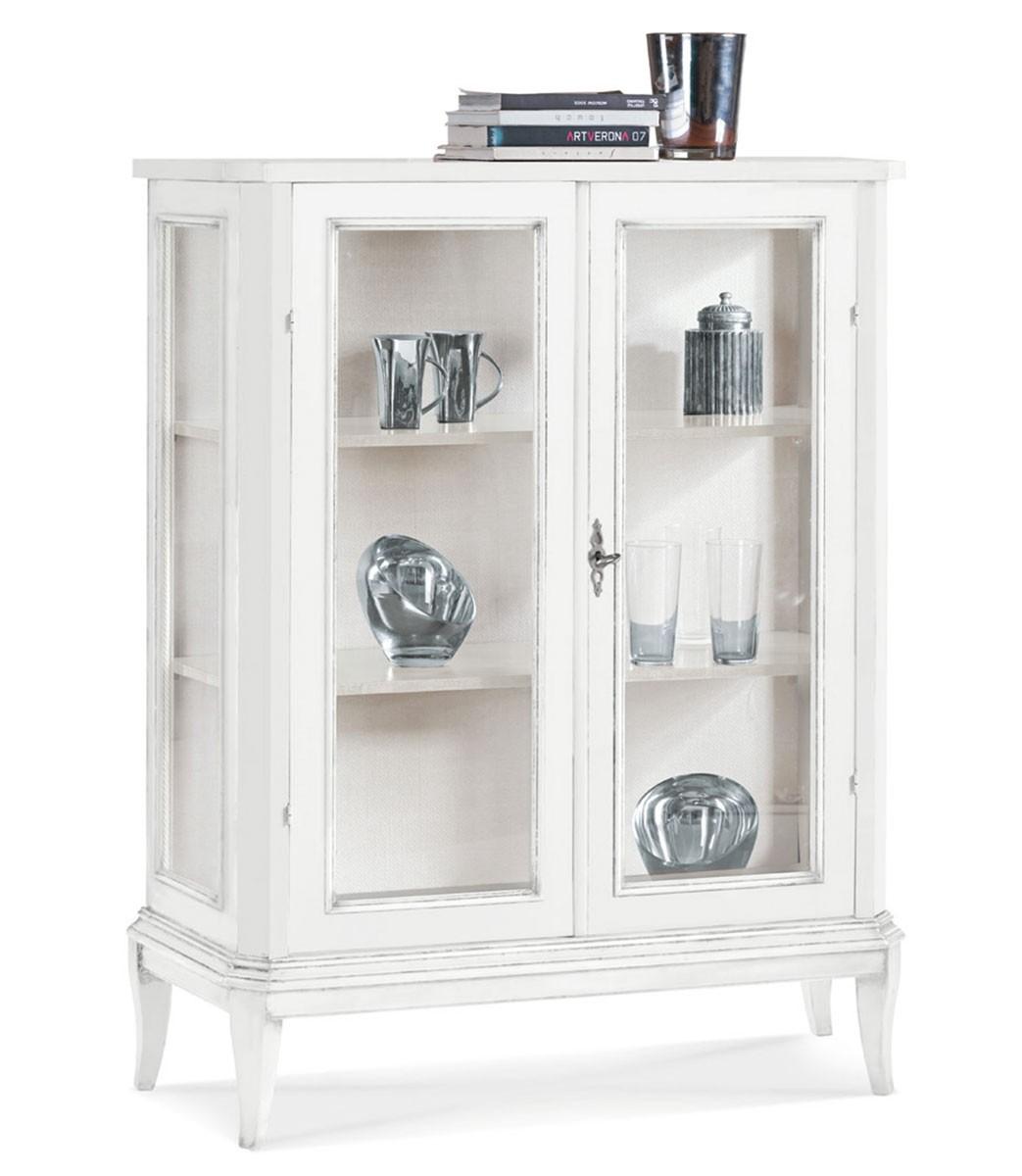 Vetrinetta 2 ante in legno bianco opaco - Spazio Casa
