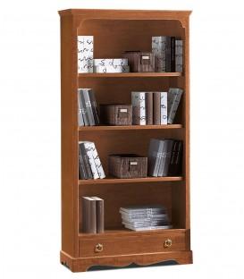 Libreria classica in legno 3 ripiani zoccolo aperto