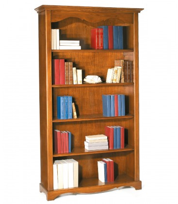 Libreria classica in legno 4 ripiani zoccolo aperto