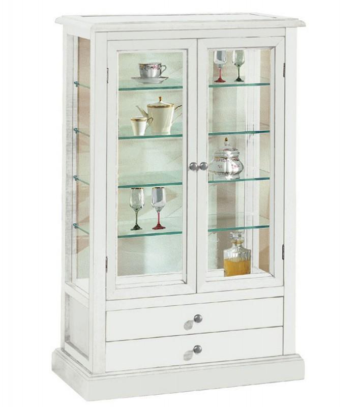 Vetrinetta 2 ante e 2 cassetti in legno bianco opaco - Spazio Casa