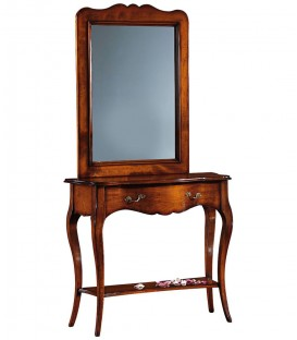 Specchio con cornice in legno sagomata