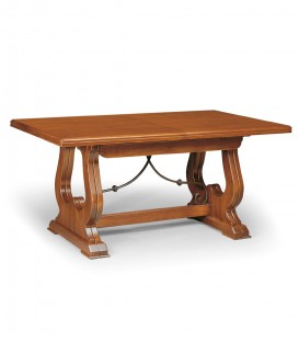 Tavolo da pranzo con gambe ad arpa con elemento in ferro