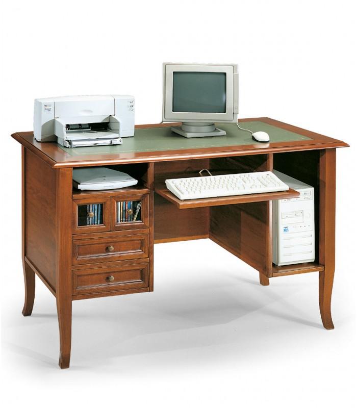 Scrivania Classica in Legno per PC con cassetti noce lucido - Spazio ...