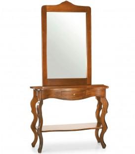 Ingresso Consolle Barocco e Specchio Cornice Legno noce lucido