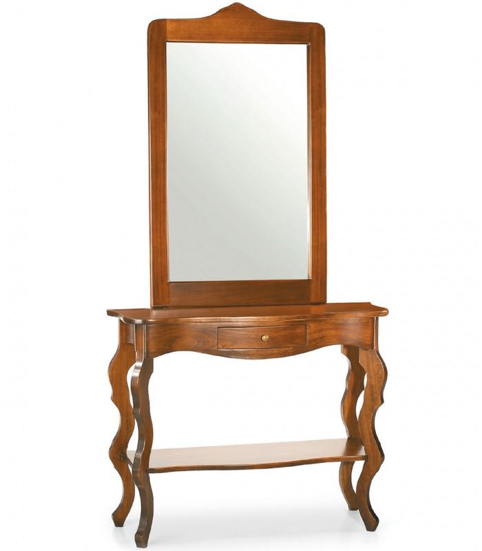 Consolle E Specchio.Ingresso Consolle Barocco E Specchio Cornice Legno Noce Lucido Spazio Casa