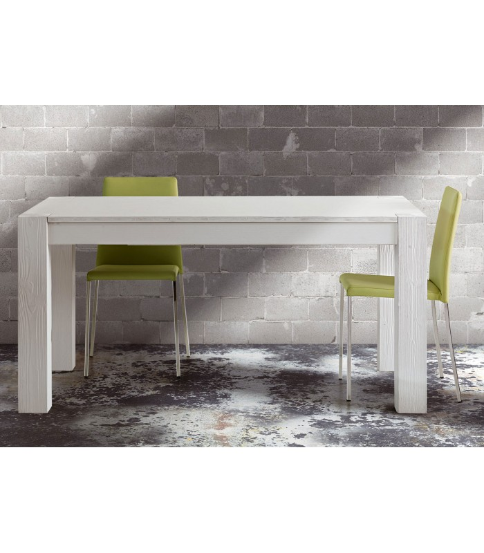 Tavolo in legno massello di abete spazzolato bianco for Offerte tavoli legno massello