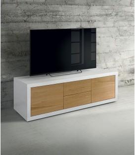 Porta TV Moderno in Legno bianco frassinato e rovere