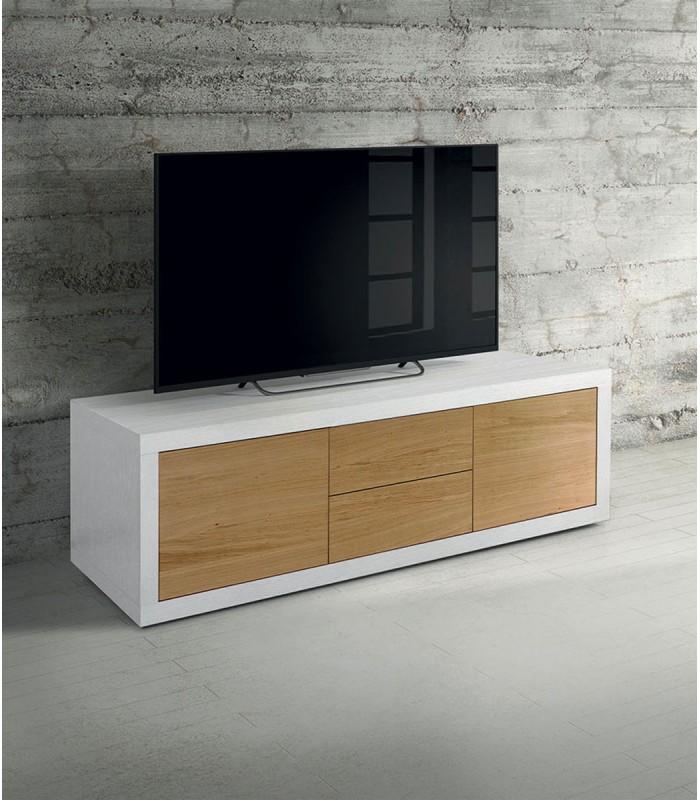 Porta TV Moderno in Legno bianco frassinato e rovere - Spazio Casa