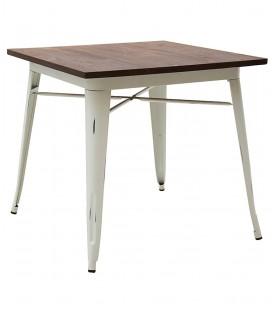 Tavolo quadrato in metallo bianco con piano in legno