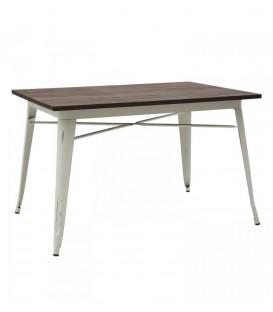 Tavolo rettangolare in metallo bianco con piano in legno