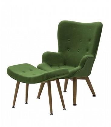 Poltrona e sgabello imbottito in tessuto verde