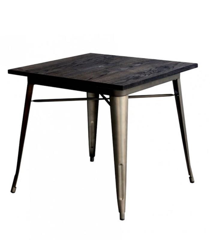 Tavolo quadrato tolix in acciaio con piano in legno - Tavolo quadrato legno ...