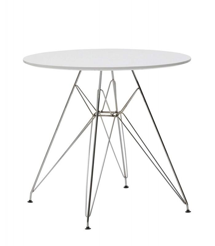 Tavolo tondo in legno con gambe in ferro cromato - Tavoli in legno con gambe in ferro ...