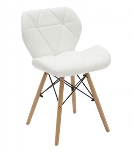 Sedia Design Imbottita Eames Style in Ecopelle color Bianco