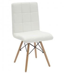 Sedia Eames in Similpelle con tappezzeria a quadri color Bianco